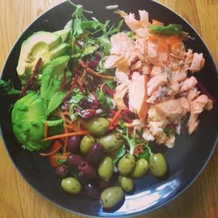 whole 30 salmon avocado olive salad healthy